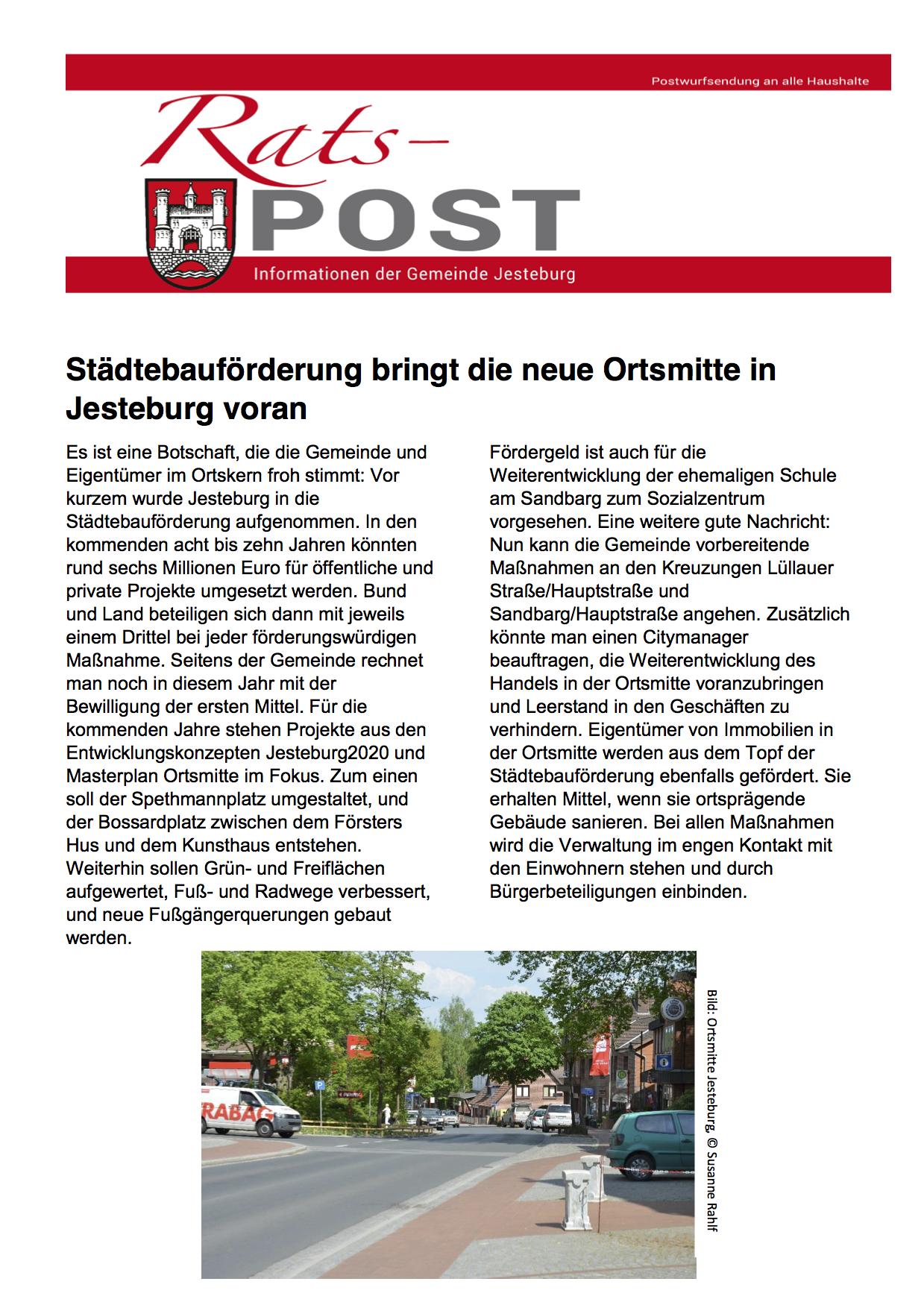Ratspost - Städtebauliche Förderung